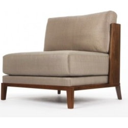Eco Friendly Furnture and Lighting - Aspre Chair.Curved, exposed wood back in Macassar Ebony or Walnut with a solid Walnut base. Single loose seat cushion and loose back cushion with an upholstered deck* and tightly upholstered inside back