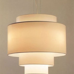 Refexion 80 by Global Lighting - This simple drum pendant has a stripped-down Art Deco silhouette and uses contemporary neutral texture and color to bring it up to date.