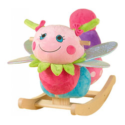 Rockabye - Rockabye Darla Dragonfly Rocker - Flit flutter and fly aboard her very own dragonfly! your little darling will fall in love with Darla's dreamy eyes girly colors and fun-filled activities like rattles in her antennaes and squeakers in her leaf necklace. The adults will appreciate the heirloom quality and four original educational songs which teach ABC's, 123's, colors, shapes and more.