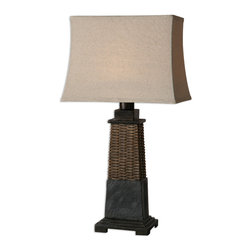 Uttermost - Lavaca Rattan Lamp - Rely on rattan to make a casually chic statement in your decor. This stylish, substantial table lamp features handsome touches of hand-carved slate and a subtly curved oatmeal linen shade.
