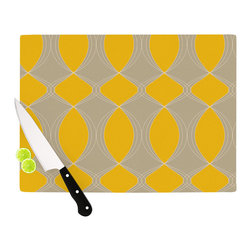 """Kess InHouse - Julia Grifol """"Geometries in Yellow"""" Cutting Board (11.5"""" x 15.75"""") - These sturdy tempered glass cutting boards will make everything you chop look like a Dutch painting. Perfect the art of cooking with your KESS InHouse unique art cutting board. Go for patterns or painted, either way this non-skid, dishwasher safe cutting board is perfect for preparing any artistic dinner or serving. Cut, chop, serve or frame, all of these unique cutting boards are gorgeous."""