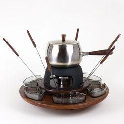 Lazy Susan Fondue Set, Chrome and Walnut - Nothing screams midcentury modern more than a fondue set!