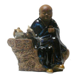 "Golden Lotus - Chinese Kid Lohon Drinking Tea Ceramic Figure - Dimensions:   w10"" x d6"" x h11"""