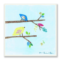 Stupell Industries - Print Birds On Twigs Square Wall Plaque - Made in USA. MDF Fiberboard. Hand finished and packed. Approx. 11 in. W x 15 in. L. 0.5 in. ThickThe Kids Room by Stupell features exceptional handcrafted wall decor for children of all ages.  Using original art designed by in-house artists, all pieces feature hand painted and grooved borders as well as colorful grosgrain ribbon for hanging.  Made in the USA, everything found in The Kids Room by Stupell exudes extraordinary detail with crisp vibrant color. Whether you are looking for one piece to match an existing room's theme, or looking for a series to bring the kid's room to life, you will most definitely find what you are looking for in The Kids Room by Stupell.