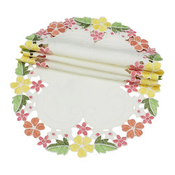 Xia Home Fashions - Fancy Flowers Set Of 4 12-Inch Round Doily-Pink - Cheerful emboidered florals colorfully burst forth on lovely cutwork. A happy and warm accent to any setting!
