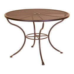 """Bistro 42""""Rd. Mesh Dining Table With 2"""" Umbrella Hole - Dimensions -"""