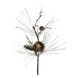 """Silk Plants Direct - Silk Plants Direct Iced Bird Pine Cone, Nest and Long Needle Pine (Pack of 6)"""" - Silk Plants Direct specializes in manufacturing, design and supply of the most life-like, premium quality artificial plants, trees, flowers, arrangements, topiaries and containers for home, office and commercial use. Our Iced Bird Pine Cone, Nest and Long Needle Pine includes the following:"""
