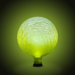 Achla - Lemon Drop Frosted 10 in. Solar Gazing Globe - These magical glass globes create an ethereal aura when lit up in the garden or on the patio, especially on dark, winter nights. An internally placed LED light runs on solar energy collected during the day by the small panel, which can be staked nearby. The gem-like quality of these orbs is unsurpassed in beauty. 10 in. Dia. crackle glass globe with an electrified LED bulb fitted inside (5 - 8 year life). Separate plug-in solar collector which has a lithium battery, light sensor, and on/off switch. Solar collector panel comes with a plastic stake to place nearby. Remote stake allows one to conveniently face the collector towards the maximum direct exposure to the sun, which should give the orb 6-8 hours of light per charge. Light sensor automatically turns the orb on once natural light fades. 10 in. Globe. Construction Material: Glass. No Assembly Required. 10 in. W x 10 in. D x 12 in. H (8 lbs.)