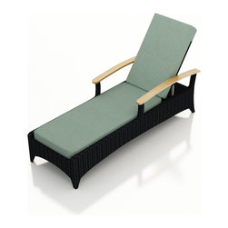 Harmonia Living - Arbor Modern Patio Reclining Chaise Lounge, Spa Cushion - Lean back and stay awhile. This chaise was made for lounging, with comfy Sunbrella cushions that are mildew- and fade-resistant. Made from high-density, polyethylene, the wicker strands weather the elements beautifully, allowing you to leave it on your patio year-round.