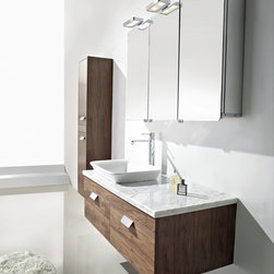 """Ocenelli - Modern Bathroom Vanity Set 47.2"""" - The Ocenelli with a white natural marble countertop is a Modern Bathroom Vanity set that embraces the latest trend in luxury modern bathroom design. This Modern Bathroom Vanity boasts sleek lines that create an eye catching element to any home."""