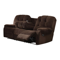 ACME - Acme Nailah Sofa with Motion in Chocolate - The Nailah collection group makes a great style and appeal for any living room. Features selected champion fabric seating with high back button-tufted cushion for years to come.