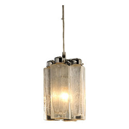 Trend Lighting - Park Avenue Pendant - Pendants like these create a beautiful pool of light over your countertop. The seeded shaker glass blocks shimmer in the light adding dimension and interest to your kitchen.