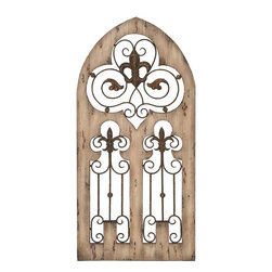 Benzara - Wood Metal Wall Decor 50in.H, 24in.W Wall Decor - Made with iron alloy and aged wood Size: 24 in. x1 in. x50 in.