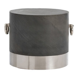 Arteriors - Neil Side Table - We love the round shape of this slate veneer side table.  We also love how the gray slate pairs with the stainless steel accent at the bottom.  The thick stainless steel ring handles are the perfect decorative touch.