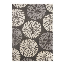 Mandara - Hand-Tufted Mandara Wool Rug from India (5' x 7') - An eye-catching geometric design highlights this Mandara rug. This thick and plush rug is hand-tufted in India using premium quality wool. Area rug features floral design in shades of grey and white against charcoal grey background.