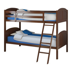 Sonax - Sonax CorLiving Concordia Solid Wood Twin Bunk Bed in Espresso Brown - Sonax - Bunk Beds - BCC578B - Stay organized by capitalizing on space with this bunk bed from CorLiving. The rich Espresso Brown stain will enhance your child's bedroom decor with the simple arched styling. The Concordia Collection is not only good looking but is upgraded featuring 12 slats of support on each bed - No box spring is needed so you can place your mattress directly on the sturdy wood slats. Rest comfortably knowing you've invested in a solidly constructed bed from CorLiving.