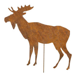 Rustica Ornamentals - Moose Garden Stake or Wall Hanging - This handcrafted Moose Garden Stake or Wall Hanging will be a charming piece to add to any home or garden decor.