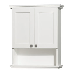 25 in. Wall Cabinet in White - The Acclaim wall cabinet, completely original and part of the Wyndham Collection Designer Series by Christopher Grubb, is a great way to add a little storage space to your bathroom oasis. This ergonomic and elegant wall cabinet is designed to be placed over the toilet or used as extra wall storage just where you need it most. Brushed chrome hardware accents complete the look and compliment the entire Acclaim line.