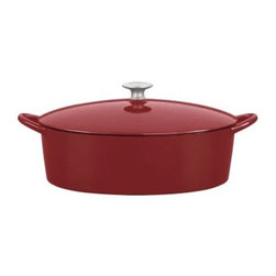 Mario Batali by Dansk Classic 6 qt. Oval Dutch Oven - Chianti - The Mario Batali by Dansk Classic 6 Sq. Oval Dutch Oven in Chianti gives you a bit more room to cook. This cast iron must-have wraps the hard-working properties of old school cast iron in a spicy chianti red enamel and makes it modern. Don't baby it -- this one doesn't need to be seasoned and can even stand up to the dishwasher! It's also perfectly safe on your gas, electric, induction, or ceramic-top stove and comes with a lifetime warranty. What's not to love?