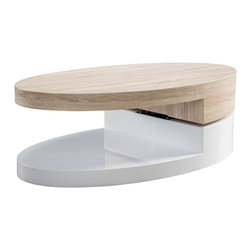 Great Deal Furniture - Emerson Large Oval Mod Swivel Coffee Table - The Emerson Large Oval Mod Swivel Coffee Table is reminiscent to the late 60's era. This modern designed table features a rotating top that can be angled according to your convenience and taste. The unique gap that gives this table its unique flair, can also be utilized for display purposes or storage. Far from traditional, the Emerson will sure to be a statement piece in your living room, bedroom or office.