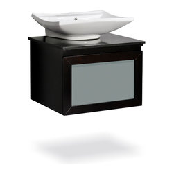 "Belmont Decor - Belmont D��_cor Newport Single Vessel Sink Bathroom Vanity - 24"" - Our exclusive Newport bathroom vanity will add sophistication and style to your bathroom ensemble. Luxurious black natural marble plate with a single ceramic basin, this vanity will give you storage space and is designed to complement any decor, from traditional to minimalist modern. Its uniquely simple contemporary box design, vessel sink, rich espresso-colored wood and frosted glass surface drawer makes this vanity a perfect addition to your bathroom."