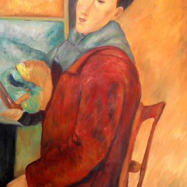 """overstockArt.com - Modigliani - Modigliani, Self-Portrait - 24"""" X 36"""" Oil Painting On Canvas Hand painted oil reproduction of a famous Modigliani painting, Modigliani, Self-Portrait. The original masterpiece was created in 1919. Today it has been carefully recreated detail-by-detail, color-by-color to near perfection. Why settle for a print when you can add sophistication to your rooms with a beautiful fine gallery reproduction oil painting? Amedeo Clemente Modigliani (1884 - 1920) was an Italian painter and sculptor who worked mainly in France. Primarily a figurative artist, he became known for paintings and sculptures in a modern style, characterized by mask-like faces and elongation of form. The bohemian painter's works form a bridge between the generation of Toulouse-Lautrec and the Art Deco painters of the 1920s. The classically simple, flat forms, elongated proportions and delicate stylization combine influences from African sculpture to Botticelli style. Why not grace your home with this reproduced masterpiece? It is sure to bring many admirers!"""