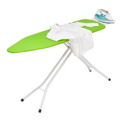 Metal Iron Board 4 Leg With Rest - Honey-Can-Do BRD-01405 4-Leg Ironing Board with Iron Rest, White / Green.  Solid and sturdy, this quality ironing board boasts all-steel construction.  A versatile height adjustment feature provides comfortable and safe ironing at any level from 26 to 36 inches high.  A convenient metal iron rest lets you make the most of your ironing surface. The 100% cotton bright green cover brightens every laundry day, while the integrated 7mm foam pad provides a smooth ironing surface every time.