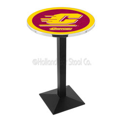 Holland Bar Stool - Holland Bar Stool L217 - Black Wrinkle Central Michigan Pub Table - L217 - Black Wrinkle Central Michigan Pub Table belongs to College Collection by Holland Bar Stool Made for the ultimate sports fan, impress your buddies with this knockout from Holland Bar Stool. This L217 Central Michigan table with square base provides a commercial quality piece to for your Man Cave. You can't find a higher quality logo table on the market. The plating grade steel used to build the frame ensures it will withstand the abuse of the rowdiest of friends for years to come. The structure is powder-coated black wrinkle to ensure a rich, sleek, long lasting finish. If you're finishing your bar or game room, do it right with a table from Holland Bar Stool. Pub Table (1)