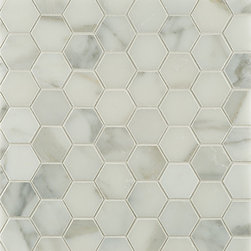 Calacatta Borghini Hexagon Mosaic Tile - I never get tired of marble hexagon tile for a bathroom floor, whether it's Calacatta or Carrara, it's timeless and perfect.