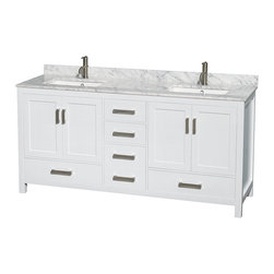 """Wyndham Collection - Sheffield 72"""" White Double Vanity, Carrera Marble Top, Undermount Square Sink - Distinctive styling and elegant lines come together to form a complete range of modern classics in the Sheffield Bathroom Vanity collection. Inspired by well established American standards and crafted without compromise, these vanities are designed to complement any decor, from traditional to minimalist modern. Available in multiple sizes and finishes."""