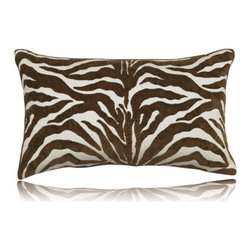 Elaine Smith - chocolate zebra lumbar pillow (12x20) - Performance pillows from renowned textile designer Elaine Smith® feature unique fabrics that are both soft and stylish, rich in color, lavish in detail, and impervious to the elements.