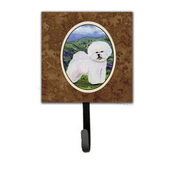 Caroline's Treasures - Bichon Frise Leash Holder Or Key Hook - The Single Hook Leash Holder measures 4.25 inches wide by 7 inches high. The tile is made from a hardhoard and is mounted to a metal rectangle. The hook hangs down from the metal plate in the back and is about 2 1/2 inches from the base. The hook opens about 1 inch. A hanger is attached to the metal plate and is about 1 1/2 inches long. Lots of room to hang up using a screw or paneling nail. Great for the home or office to hold keys, leashes or just about anything.