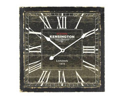 YOSEMITE HOME DECOR - 16 in. Square MDF Wall Clock distressed black wooden frame - With its story book charm this wall clock is sure to bring character to your d��_cor. This clock is framed in a wooden like black distressed box. The dial is also a distressed black with white roman numerals and hands. The words Station Kensington are stamped right under the twelve and London 1879 just above the six. This clock makes the perfect companion in just about any room with rustic style decor.