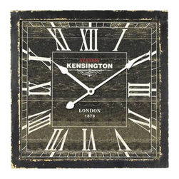 Yosemite Home Decor - 16 In. Square MDF Wall Clock Distressed Black Wooden Frame - With its story book charm this wall clock is sure to bring character to your decor. This clock is framed in a wooden like black distressed box. The dial is also a distressed black with white roman numerals and hands. The words Station Kensington are stamped right under the twelve and London 1879 just above the six. This clock makes the perfect companion in just about any room with rustic style decor.