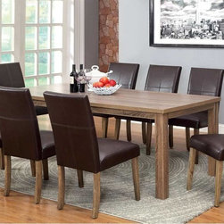 9 PC Light Oak Wood Dining Set Table Parson Chairs Brown Leather Seat - Create a welcoming environment in your dining room with this beautiful light oak set. The straight lines of the table work well with the chair's slight curves and its two color opinions: ivory fabric and dark brown leatherette.