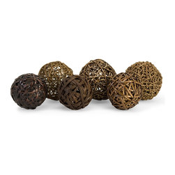iMax - iMax Worren Natural Wrapped Balls - Set of 6 X-6-17076 - The Worren natural wrapped balls are crafted from willow, seagrass and rope and add an earthy element to any home.
