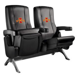 Dreamseat Inc. - Iowa State University NCAA Cyclones Row One VIP Theater Seat - Single - Please note: This item is the single chair, not multiple as shown in the photo. We do not have photos of an individual chair by itself. Check out this fantastic home theater chair. This is the same seat that is in the owner's VIP luxury boxes at the big stadiums. It has a rocker back and padded seat, so it's unbelievably comfortable - once you're in it, you won't want to get up. Features a zip-in-zip-out logo panel embroidered with 70,000 stitches. Converts from a solid color to custom-logo furniture in seconds - perfect for a shared or multi-purpose room. Root for several teams? Simply swap the panels out when the seasons change. This is a true statement piece that is perfect for your Man Cave, Game Room, basement or garage.