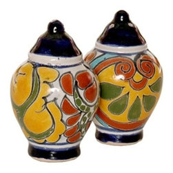 Mexican Talavera - Mexican Talavera Salt & Pepper Shakers, Design A - Mexican Talavera Salt & Pepper Shakers