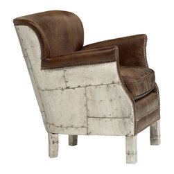 Kathy Kuo Home - Asher British Industrial Loft Stud Accent Arm Chair - This definitely isn't your father's armchair. Wrapped in forged patchwork metal and distressed leather, your edgy personality will shine through via this Asher statement chair. This is the perfect perch to enjoy a tumbler of home brewed spirits from your own distillery while reading the latest zine on your tablet - or, perhaps to even command a legion of steampunk citizens from inside your industrial loft.
