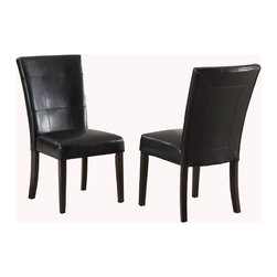 Modus Furniture International - Bossa Dining Height Parsons Chair in Black Leatherette (Set of 2) - In Brazil, to do something with bossa is to do it with particular charm and natural flair. Available in counter and dining height with 48 and 54 inch tops, Bossa tables pair straight lined architectural bases with round floating tops, built out edge bands and book matched veneer surfaces. Parsons chairs, banquettes and kitchen counter stools are available in several fresh colors and blend transitional button tufting with a contemporary profile, upholstery application and wood finish. The result is an urban contemporary casual dining set designed with ample bossa.