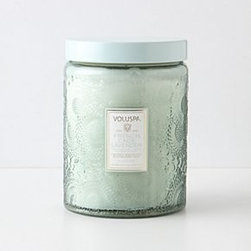 """Voluspa - Voluspa Cut Glass Jar - 100 hour burn time. Coconut wax bend. 5.25""""H, 3.5""""W. 16 oz. USA. Goji Berry: cold-pressed tarocco blood orange blended with sun-dried goji berries . Santiago Huckleberry: sweet and spicy, with hints of vanilla pod and sugarcane . Baltic Amber: forest scents of sandalwood and cedar. French Cade: refreshing blend of French cade wood, lavender, verbena and moss. Bella Sucre: comfortingly sweet with demerara sugar, tiare flower and coconut milk. Mokara: a floral mix of Mokara orchid, white lily and spring moss. Crane Flower: ripened grapefruit combines with geranium, lavender and nectar inspired by the Birds of Paradise flower"""