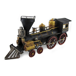 Zeckos - Vintage Style Train Steam Engine Metal Table Statue 13 in. - Another great invention from the Industrial Revolution was the steam engine. This fun metal statue pays tribute to the trains that once ruled the rails This statue would look great in your station themed room or highlighting a bookcase in the office, and measures 13 inches (33 cm) long, 6 inches (15 cm) high and 4 inches (10 cm) wide. With hand-painted details, this black and metallic bronze train engine even has red rotating wheels, and would make a great gift any train enthusiast is sure to admire