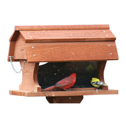 Songbird Essentials - Post Mounted Barn Feeder - Gambrel roof looks great on this large capacity feeder. Removable anti-beak sweep. Holds 2 gallons of seed.
