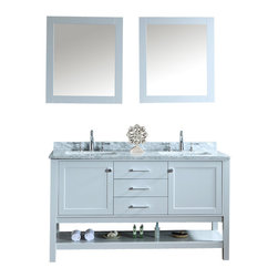 """Ariel - Bayhill 60"""" Double-Sink Bathroom Vanity Set - Simple. Modern. Timeless. These are the words most often associated with our Bayhill collection.  The cloud grey finish on this 60"""" vanity is stunning and pairs marvelously with the white carrera marble countertop.  Two doors and three sliding drawers provide generous storage space for all your bathroom essentials. Two doors with soft-closing hinges Three drawers with soft-closing sliders White carrera marble countertop (1"""" edge) w/matching backsplash design.  All marble tops are finished by hand, pre-drilled for all 8"""" widespread faucets, and double-sealed for scratch-resistance and long-term durability 2 cUPC-certified rectangular undermount sinks Color: Cloud Grey 2 Matching wood-framed 39.4""""W x 31.5""""H mirror included Vanity Dimensions: 60""""L x 22""""W x 34.6""""H"""