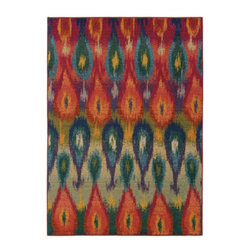 """Grandin Road - Minya Indoor Area Rug - 4' x 5'9"""" - Warm up with the many hues of our Ikat-patterned area rug. Machine woven construction. Durable 100% polypropylene. Extend the life of your rug with one of our indoor rug pads (sold separately). Step out onto the energetic Ikat-inspired design of our contemporary Minya Area Rug. With its kaleidoscopic rainbow of hues, including red, orange, yellow, green, blue, violet, ivory, and gray, this distinctive and vibrant design is underscored by a durable construction, providing you with comfort and style underfoot for years to come.. . . . Imported."""