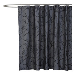 Lush Decor - Flower Texture Silver Shower Curtain - Includes 1 Shower curtain. Fabric Content:100% Polyester. Care Instructions: Dry clean. 72 in. W x 72 in. H This beautifully woven jacquard shower curtain is certain to create a warm and calming environment for your bathroom. The delicate buds and branches are a way to create a focal point that is very easy to decorate around and bring nature into the home.