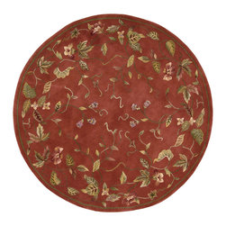 Nourison - Nourison Julian JL57 6' x 6' Persimmon Area Rug 73122 - Scrolling leaves, vines and flowers caper across this beautiful rug with gorgeous hand carving and a lavish luster. Its breath-taking persimmon background with accents of pink, gold, green and white exude non-stop drama to transform the ordinary into the out-of-this-world.
