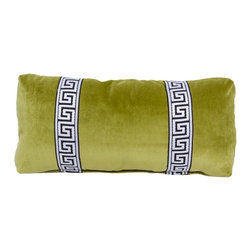 Society Social - Olive Green Greek Key Lumbar Pillow - Something about Greek key trim lends a regal air to any application. This lumbar pillow gets double the royal treatment then, thanks to two strips hugging either side of center.