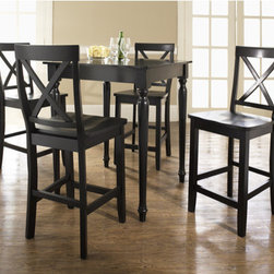 """Crosley - 5 Piece Counter Height Dining Set - Constructed of solid hardwood and wood veneers, the 5 piece Pub / High Dining set is built to last. Whether you are looking for dining for four, or just a great addition to the basement or bar area, this set is sure to add a touch of style to any area of your home. Features: -With Turned Leg Table and X-Back Barstools.-Distressed: No.-Powder Coated Finish: No.-Gloss Finish: No.-Top Material: Solid hardwood / Veneer.-Base Material: Solid hardwood / Veneer.-Chair Material: Solid hardwood / Veneer.-Solid Wood Construction: No.-Reclaimed Wood: No.-Number of Items Included: Includes 5 Pieces: 1 Table and 4 chairs.-Hardware Material: Steel.-Non-Toxic: No.-Scratch Resistant: No.-Rust Resistant: No.-Leaf Included: No.-Seating Capacity: 4.-Wine Storage: No.-Shelving: No.-Drawers: No.-Corner Block : No.-Stemware Holder: No.-Upholstered Side Chair: No.-Upholstered Arm Chair: No.-Upholstered Bench: No.-Cushioned Chair Seats: No.-Lighted: No.-Outdoor Use: No.-Weight Capacity: 250 lbs (per person).-Swatch Available: No.-Commercial Use: No.-Recycled Content: No.-Eco-Friendly: No.-Product Care: Use a soft clean cloth that will not scratch the surface when dusting. Use of furniture polish is not necessary. Should you choose to use a furniture polish, test in an inconspicuous area first. Use os solvents of any kind could damage your furniture's finish. To clean, simply use a soft cloth moistened with lukewarm water, then buff with a dry soft clean cloth..Specifications: -ISTA 3A Certified: Yes.Dimensions: -Table: Yes -Overall Table Height - Top to Bottom: 36"""".-Overall Table Width - Side to Side: 32"""".-Overall Table Depth - Front to Back: 32"""".-Overall Table Weight: 55.6 lbs..-Side Chair: Yes -Overall Side Chair Height - Top to Bottom: 40.5"""".-Overall Side Chair Width - Side to Side: 18.5"""".-Overall Side Chair Depth - Front to Back: 22.5"""".-Side Chair Seat Height: 24"""".-Overall Side Chair Weight: 18 lbs..-Arm Chair: No.Assembly: -Assembly Requir"""