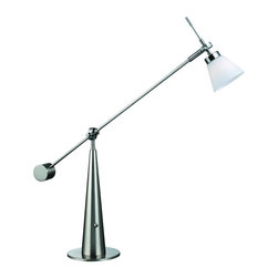 """Lite Source - Polished Steel / Frost Desk Lamp from the Admiral Collection - Desk Lamp This sharp desk lamp has a bright 40 watt halogen bulb and an adjustable frosted glass shade. The lever style body allows for various heights while maintaining stability. An on-off toggle switch is located on the body for ease of use. 40W Halogen JCD Type Bulb (Bulb Not Included) G-9 Socket On/Off Toggle Switch Base: 8"""""""